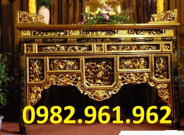 bàn thờ ô xa sơn son thiếp vàng