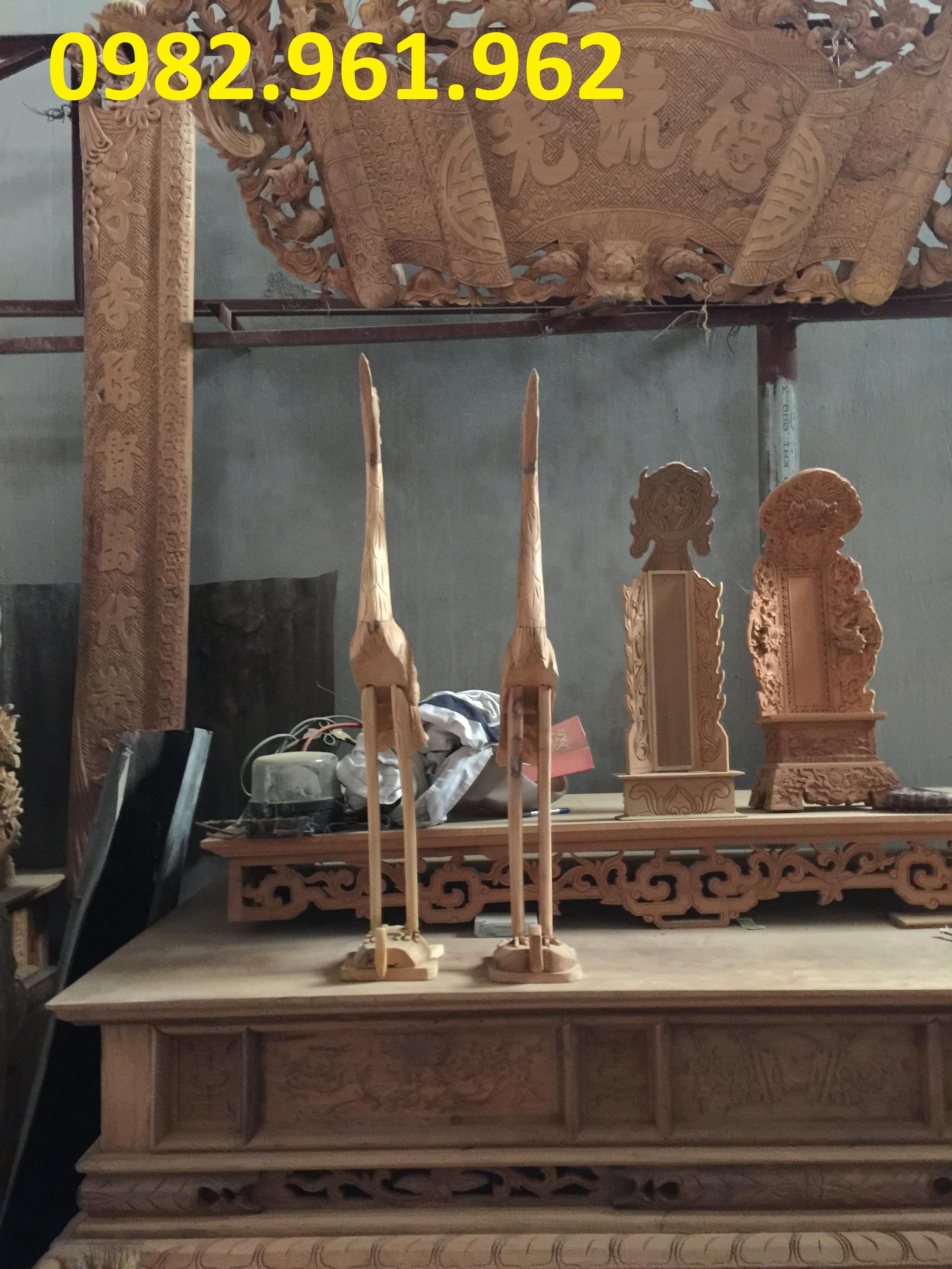 Hạc thờ gỗ