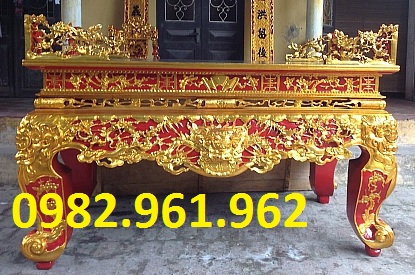 sập thờ gỗ gụ sơn son thiếp vàng