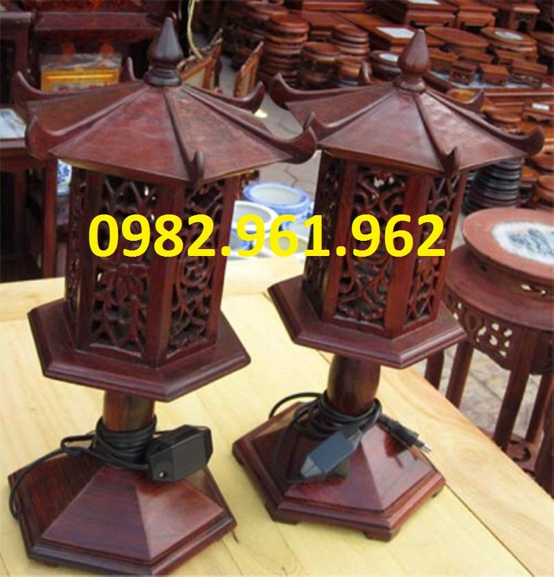 đèn thờ gỗ lục giác sơn pu