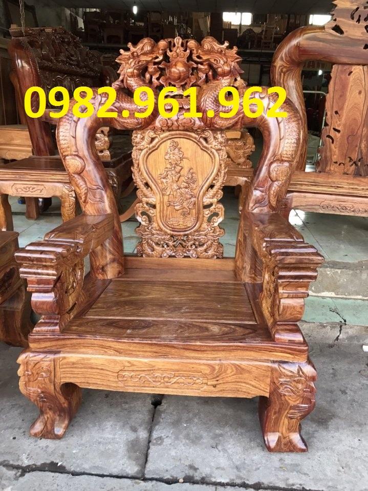 Bộ bàn ghế minh đào tay 12 gỗ hương vân
