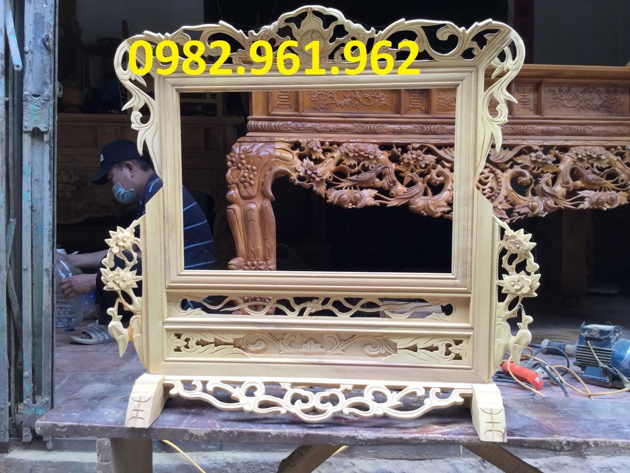 khung ảnh thờ đôi bằng gỗ mít