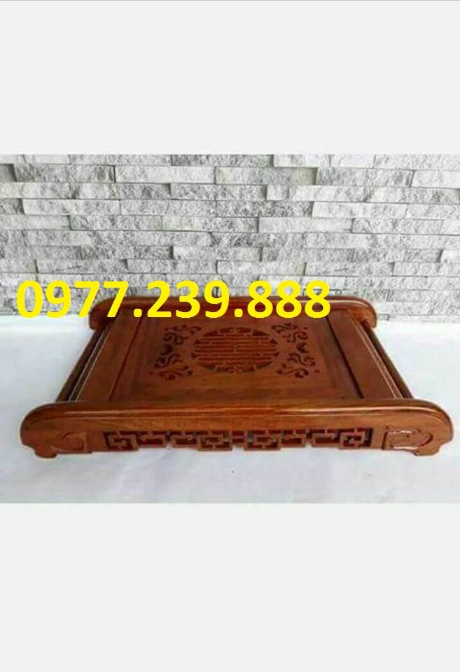 Khay trà đạo chân cuốn bằng gỗ hương đỏ