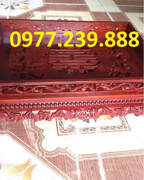 Khay trà chân cuốn bằng gỗ hương giá gốc