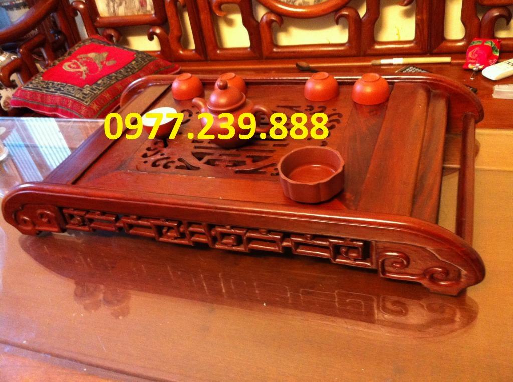 Khay trà chân cuốn bằng gỗ hương lào