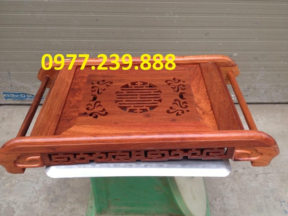 Khay trà cuốn bằng gỗ hương