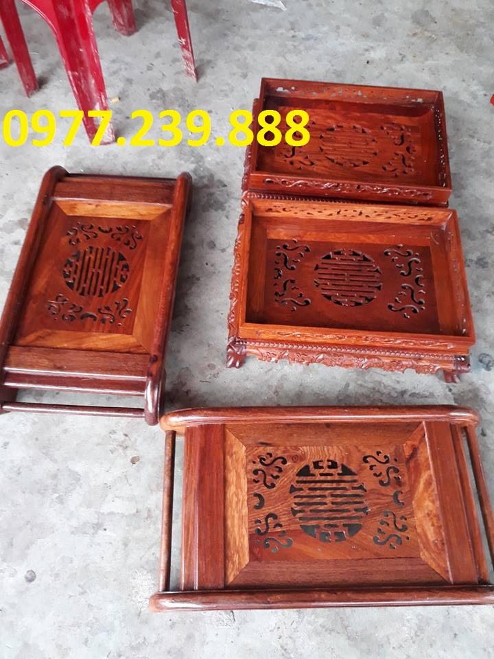 Mua bán khay trà chân cuốn bằng gỗ hương