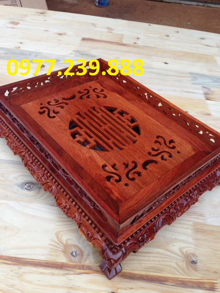 bán khay gỗ hương chân đỉnh 25x35