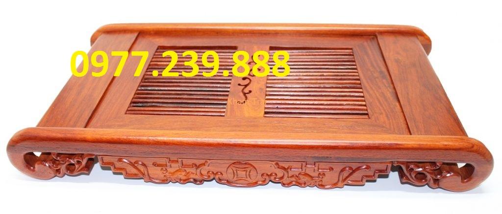 mẫu Khay trà đạo chân cuốn gỗ hương