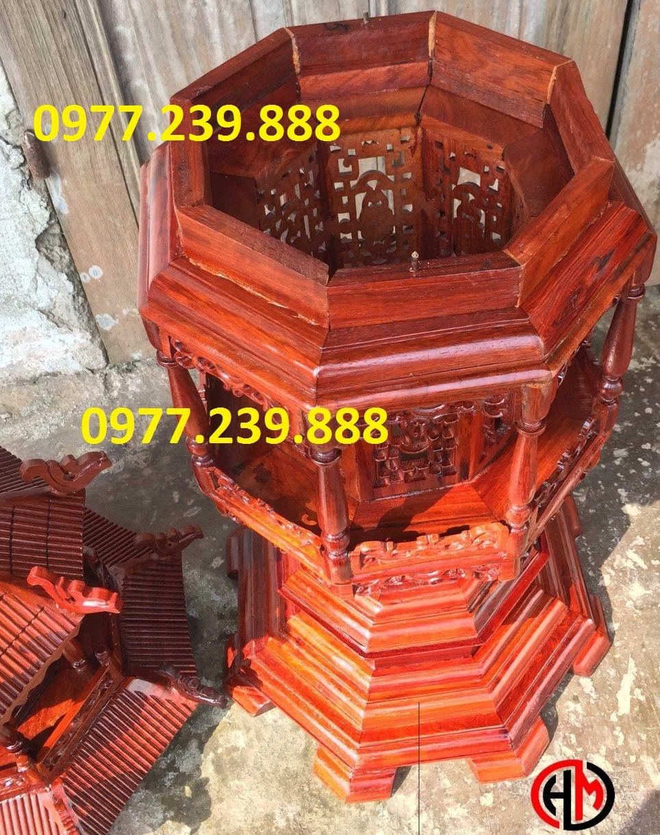 đèn mái chùa bằng gỗ hương lào