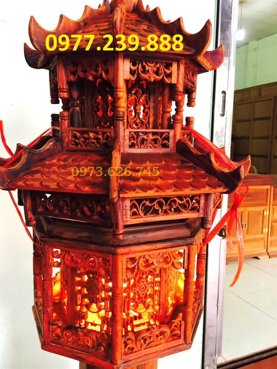 đèn mái chùa gỗ hương ta