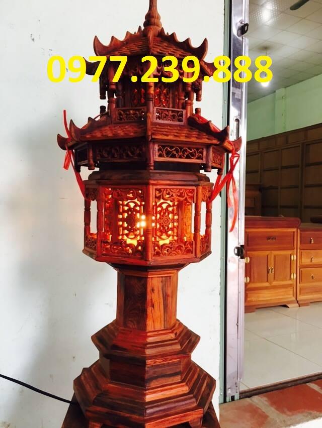 đèn mái chùa gỗ trắc