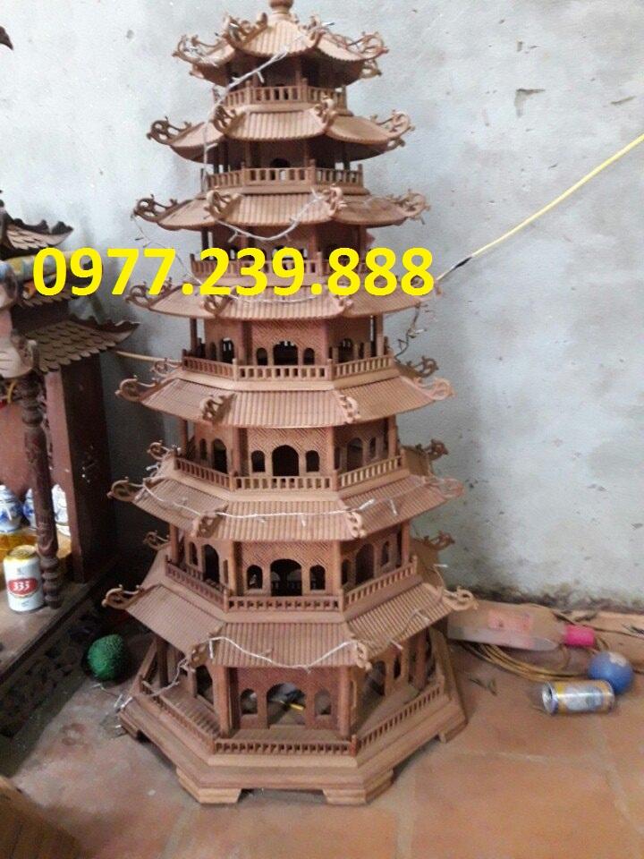 đèn tháp gỗ hương