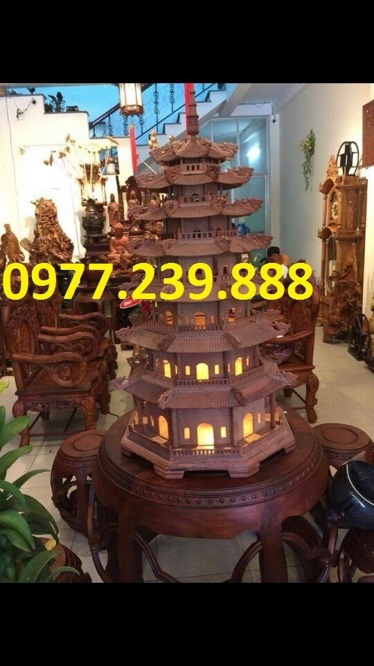 đèn tháp gỗ trắc