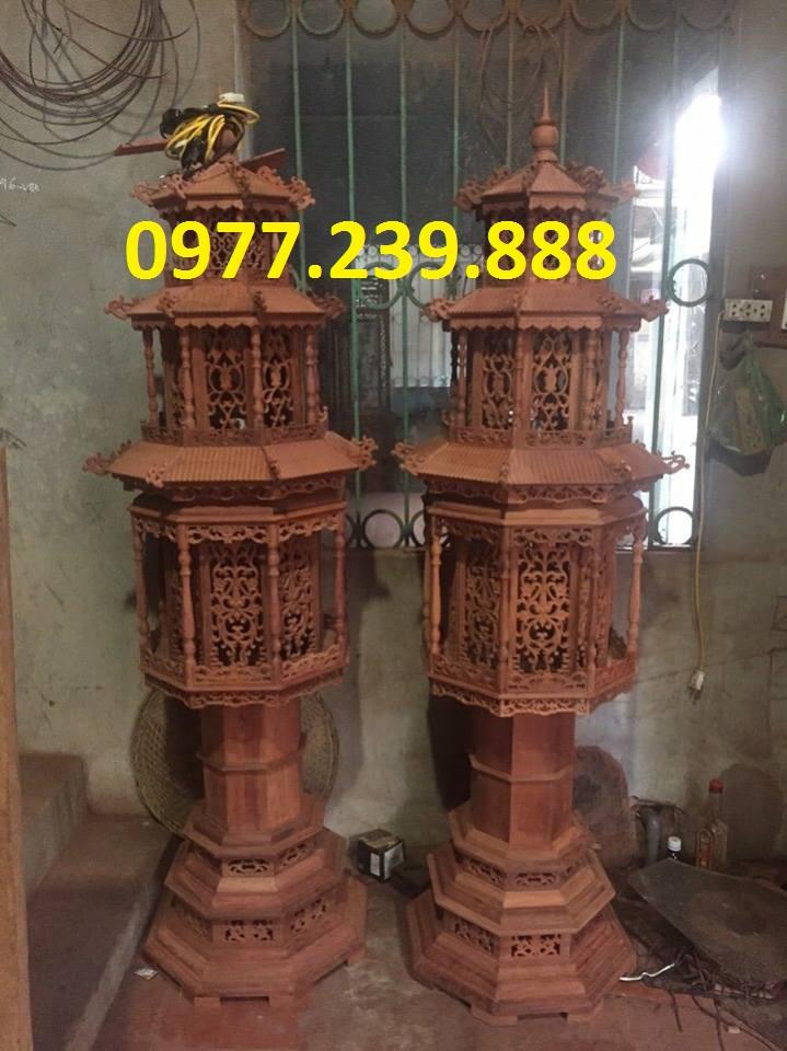đèn thờ mái chùa gỗ hương 1,75m
