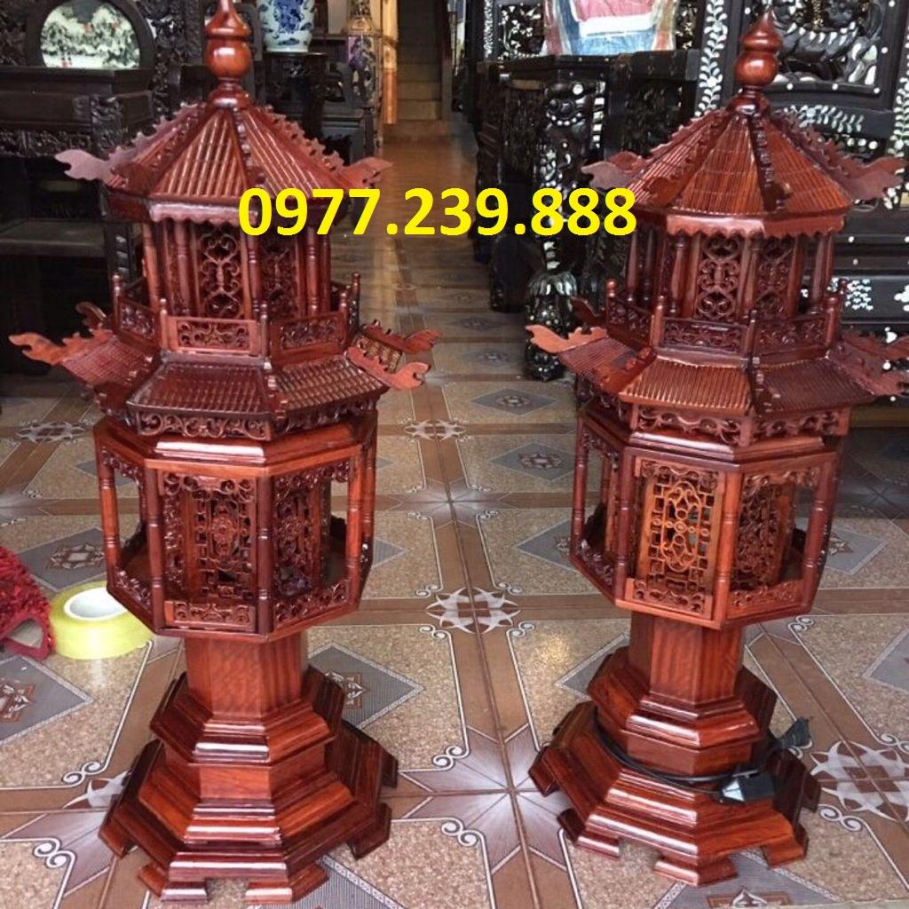 đèn thờ mái chùa gỗ hương cao 81cm
